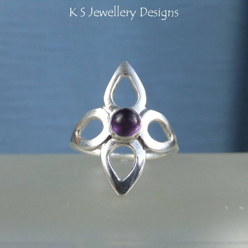 Amethyst Wraparound Flower Ring 3