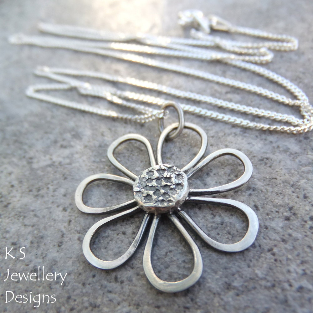 Rustic Daisy - Sterling Silver Pendant Necklace (made to order, oxidised or shiny)