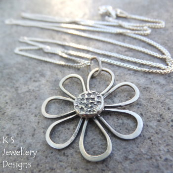 Rustic Daisy - Sterling Silver Pendant Necklace (made to order)