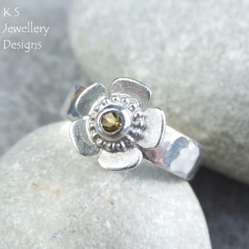 *SALE was £60* Citrine Sterling Silver Buttercup Ring (UK size O / US size 7.25)