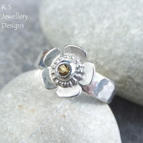 Citrine Sterling Silver Buttercup Ring