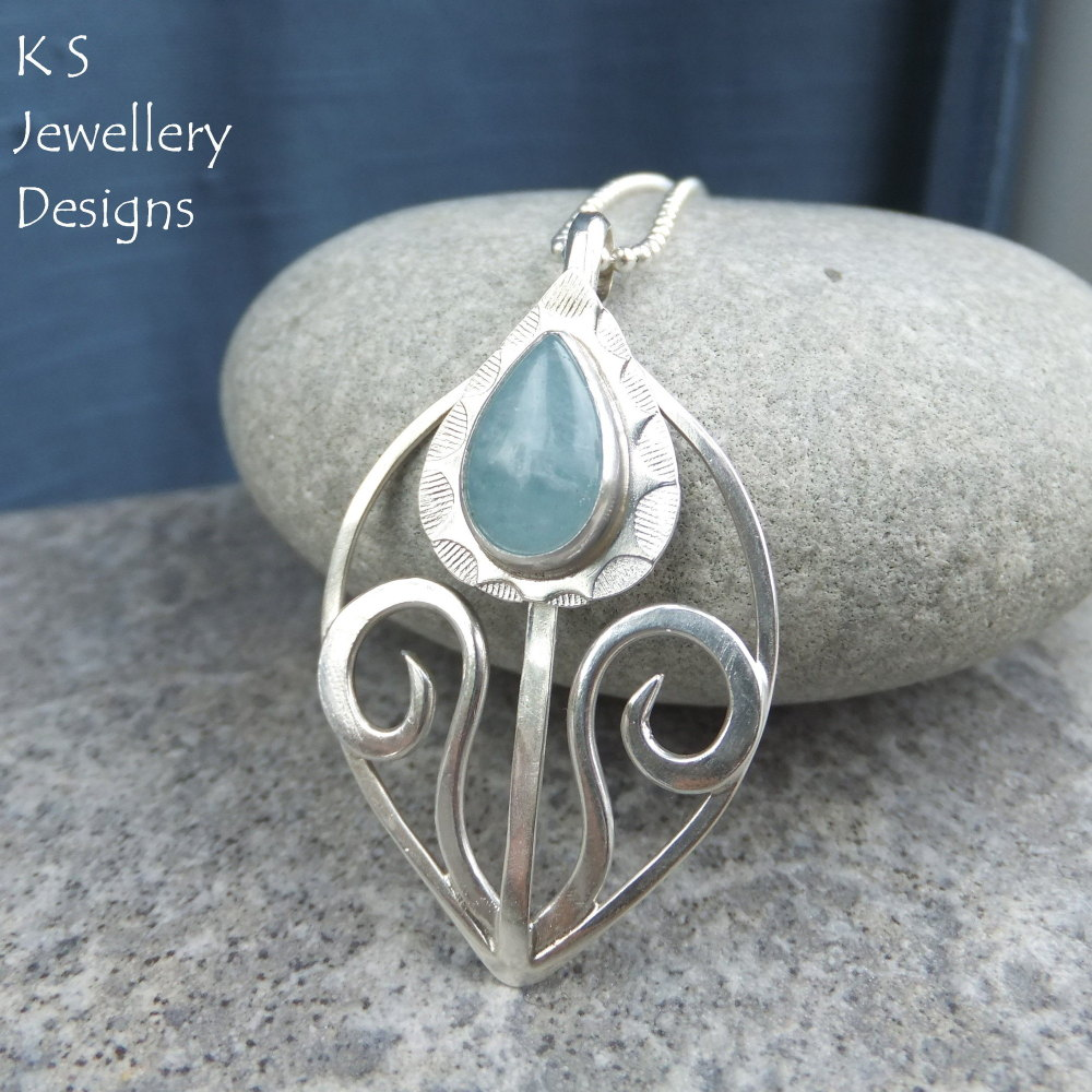 Aquamarine Sterling Silver Flower Bud Pendant