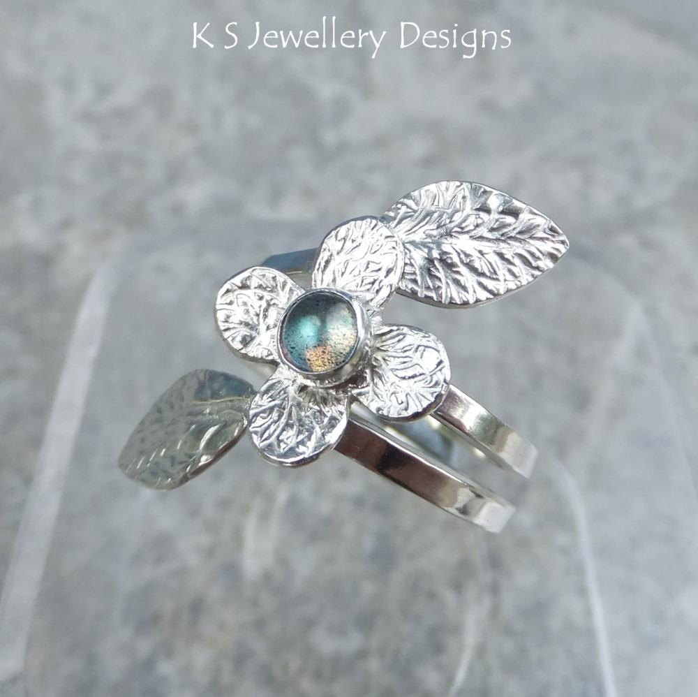 Labradorite Flowering Vine Sterling Silver Ring