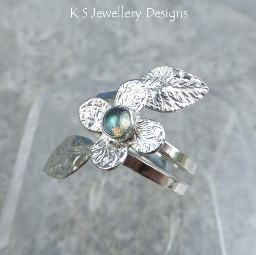 Labradorite Flowering Vine Sterling Silver Ring
