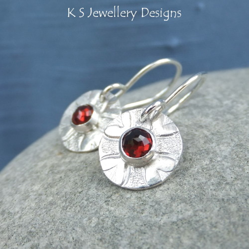 Garnet Love Heart Sterling Silver Disc Earrings