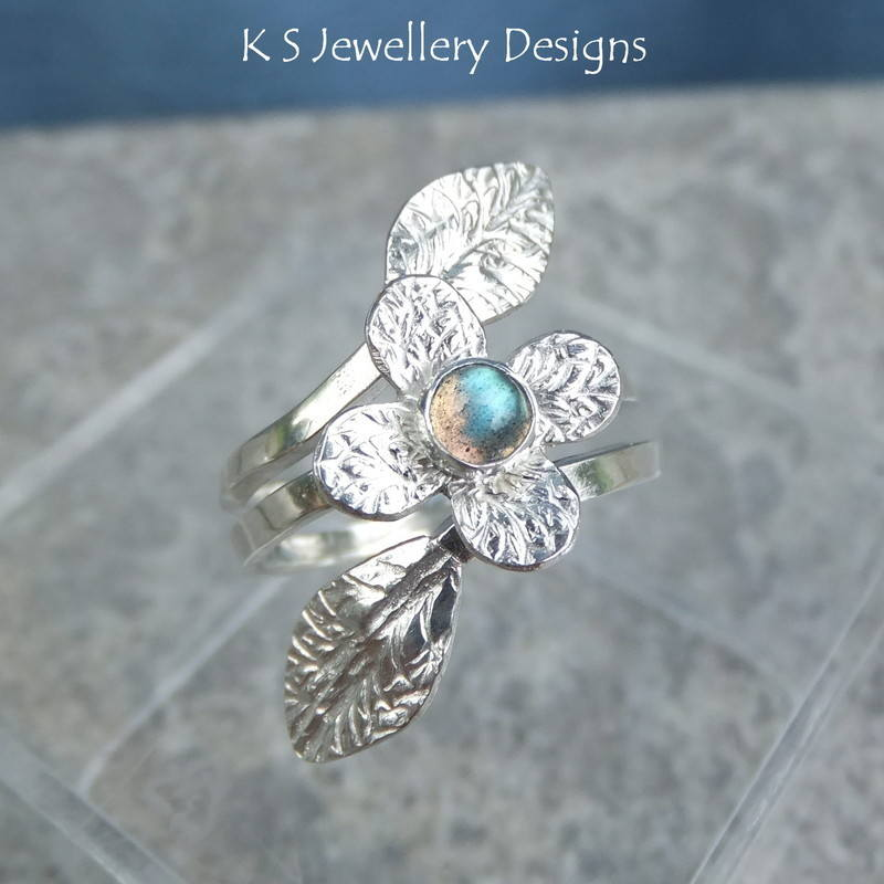 Labradorite Flower Vine Ring 2