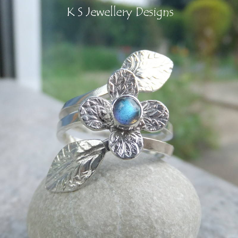 Labradorite Flower Vine Ring 4