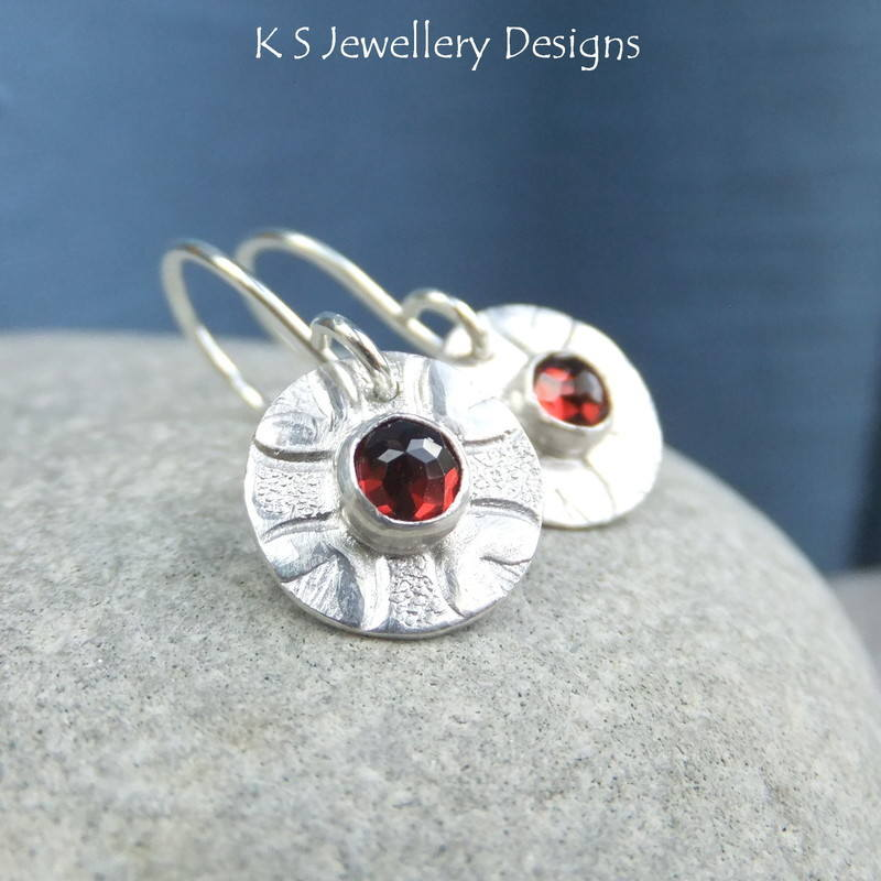 Garnet Love Heart Disc Earrings 1