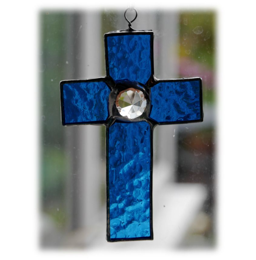 BLUE Mini Crystal Cross 003 Aqua blue  FREE 9.00