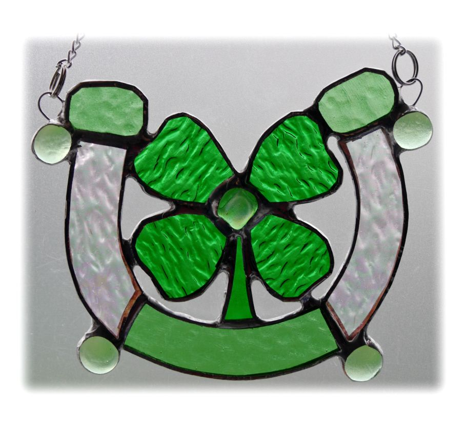 GREEN Horseshoe Good luck 001 clover  #1804 FREE 22.50