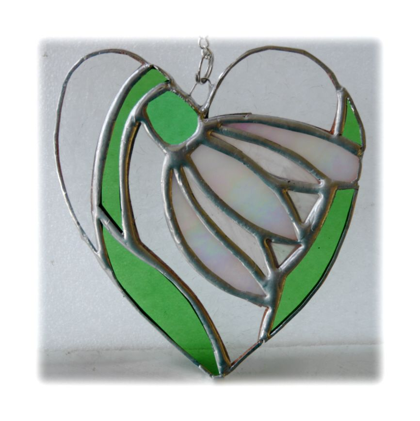 GREEN Snowdrop heart 002 #1903 FREE 16.00