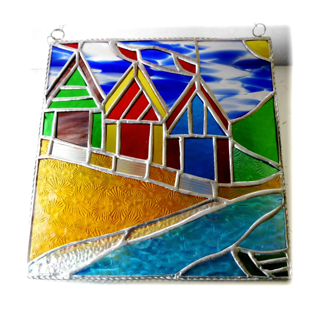 YELLOW BEACH HUT PICTURE 012 8inch #1904 FREE 47.50