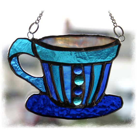 Teacup 004 5x4 Blue Turquoise FOLKSY 121130 13.50