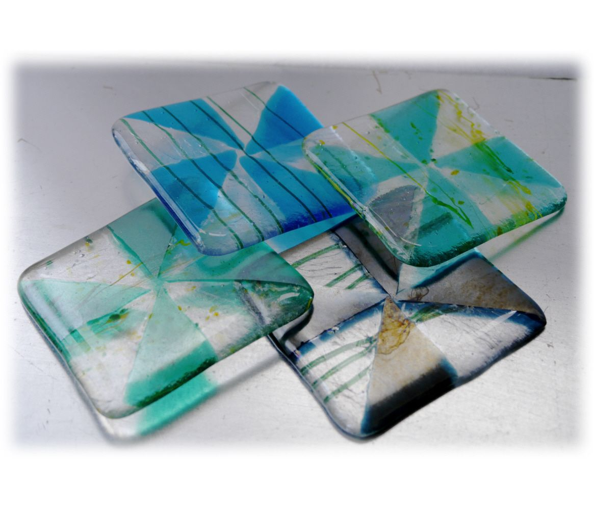 Coaster 9cm 037 Aqua Triangles #1711 FREE 5.00
