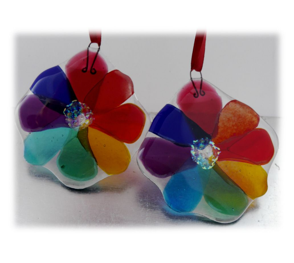 Rainbow Flower Fused Suncatchers 002 #1804 8.50