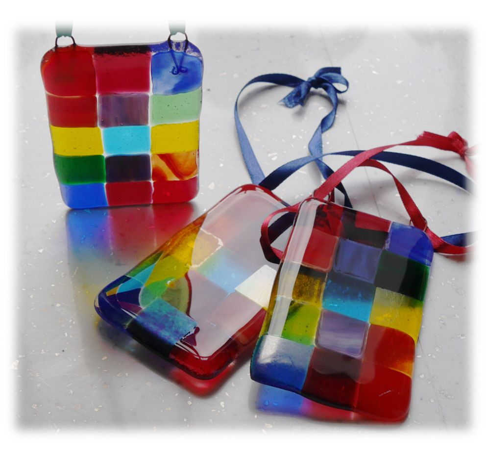 Rainbow Patchwork Fused Suncatchers 003 #1803 10.00