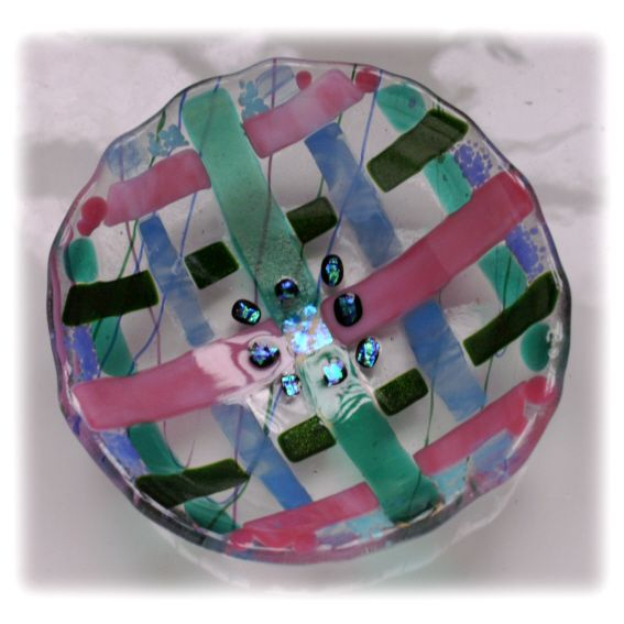 12cm Round Pink Turquoise Weave Bowl FUSED 003 #1403 @FOLKSY @150207 @16.00