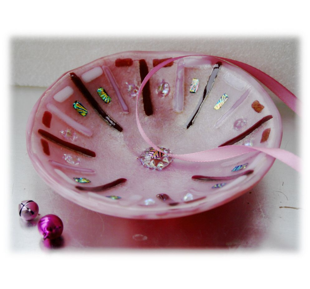 12cm Round Pink Dichroic Bowl FUSED 038 #1711 FREE 16.00