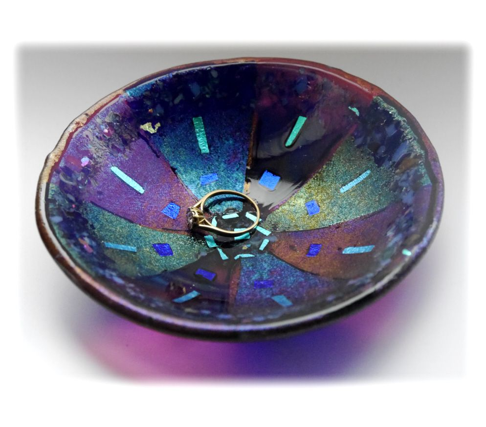 12.5 cm Round  Purple Blue Dichroic Bowl FUSED 027 #1701 FREE 16.00