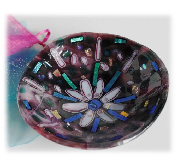 12.5cm Round Plum Dichroic Bowl FUSED 018 #1602 FREE 16.00