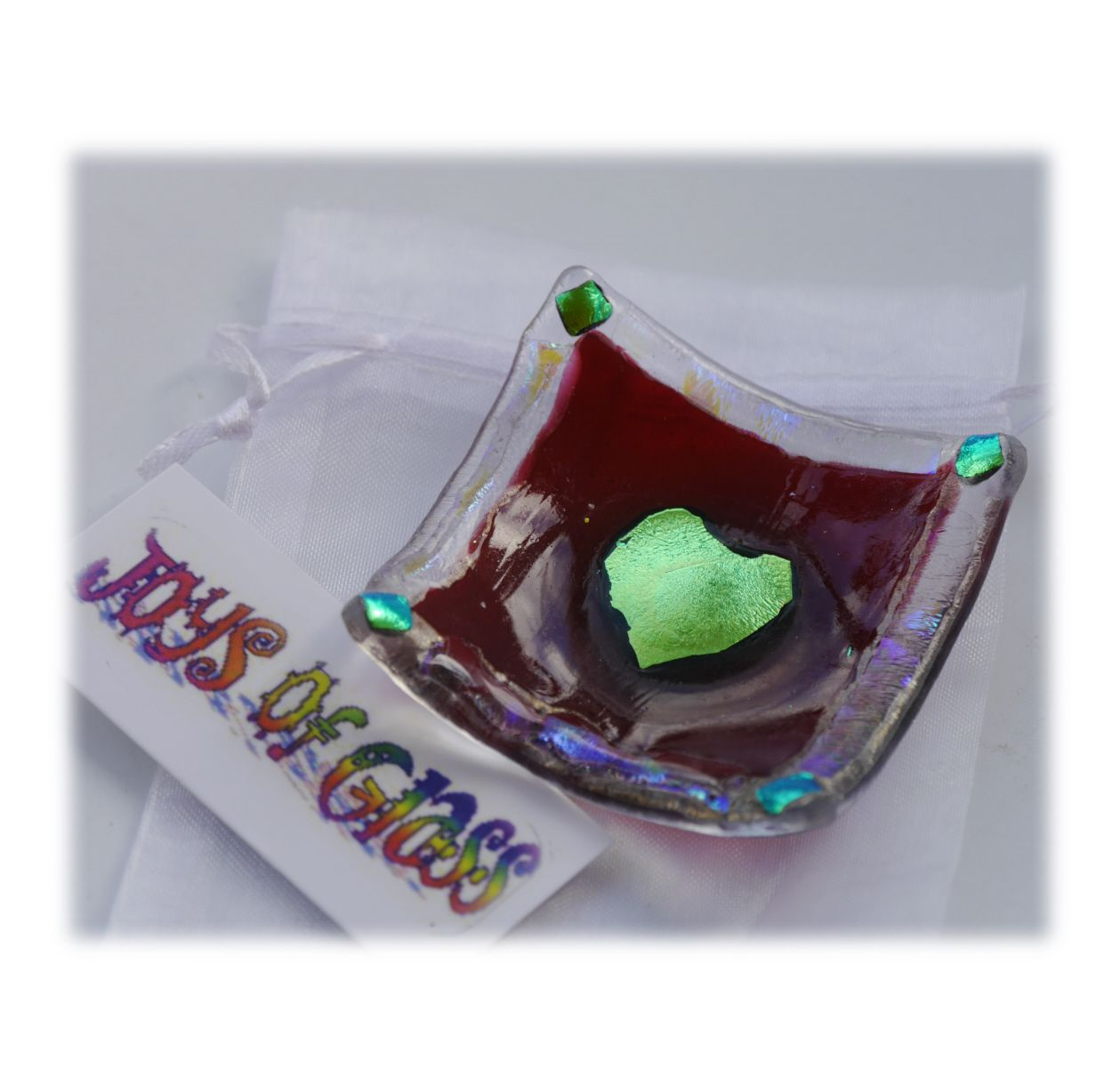 6cm Deep Dish 003 Cranberry Dichroic Heart #1811 FREE 7.50 - Copy