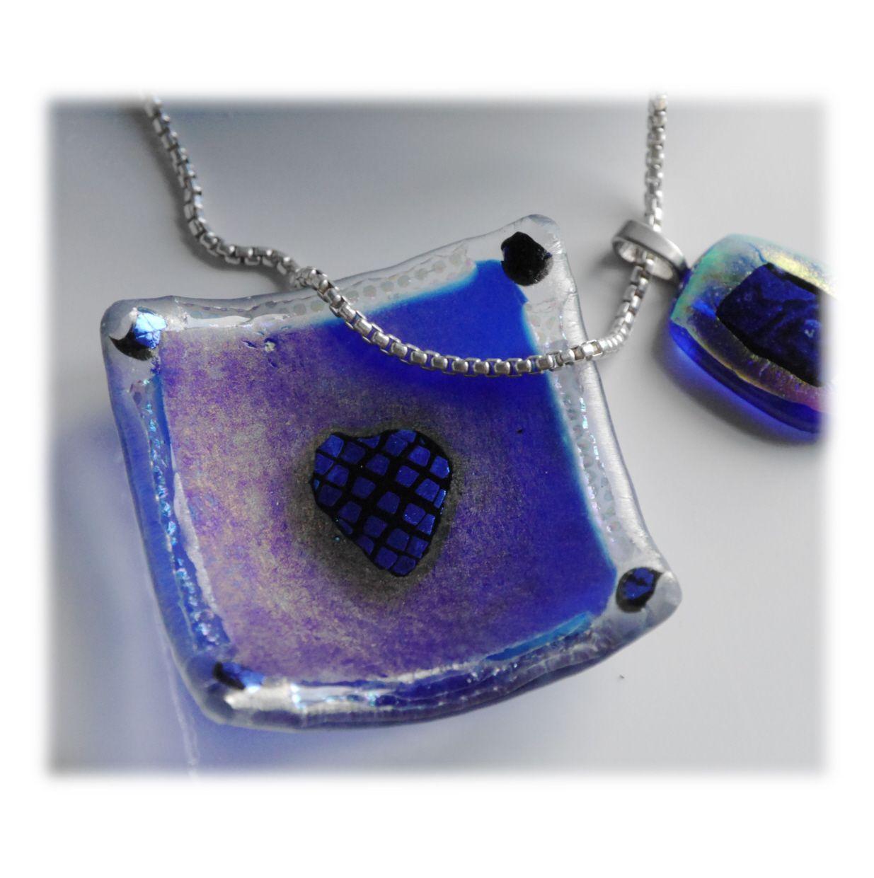 6cm Deep Dish 004 Blue Dichroic Heart #1811 FREE 7.50 - Copy