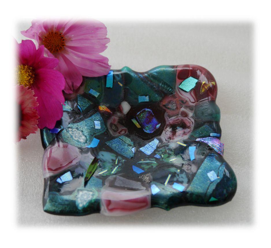 10cm Dish 001 #1708 Square aqua pink nugget Fused 11.50
