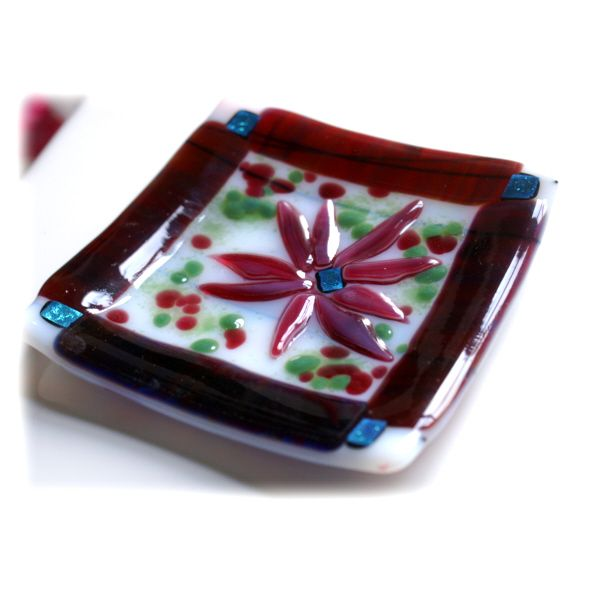 11cm Dish 003 Plum flower Fused FREE 40115 15.00