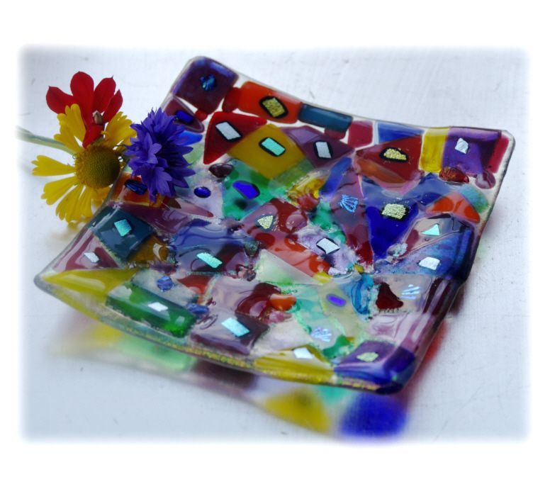 Candle Plate 12cm 002 Rainbow Dichroic #1608 FREE 15.00