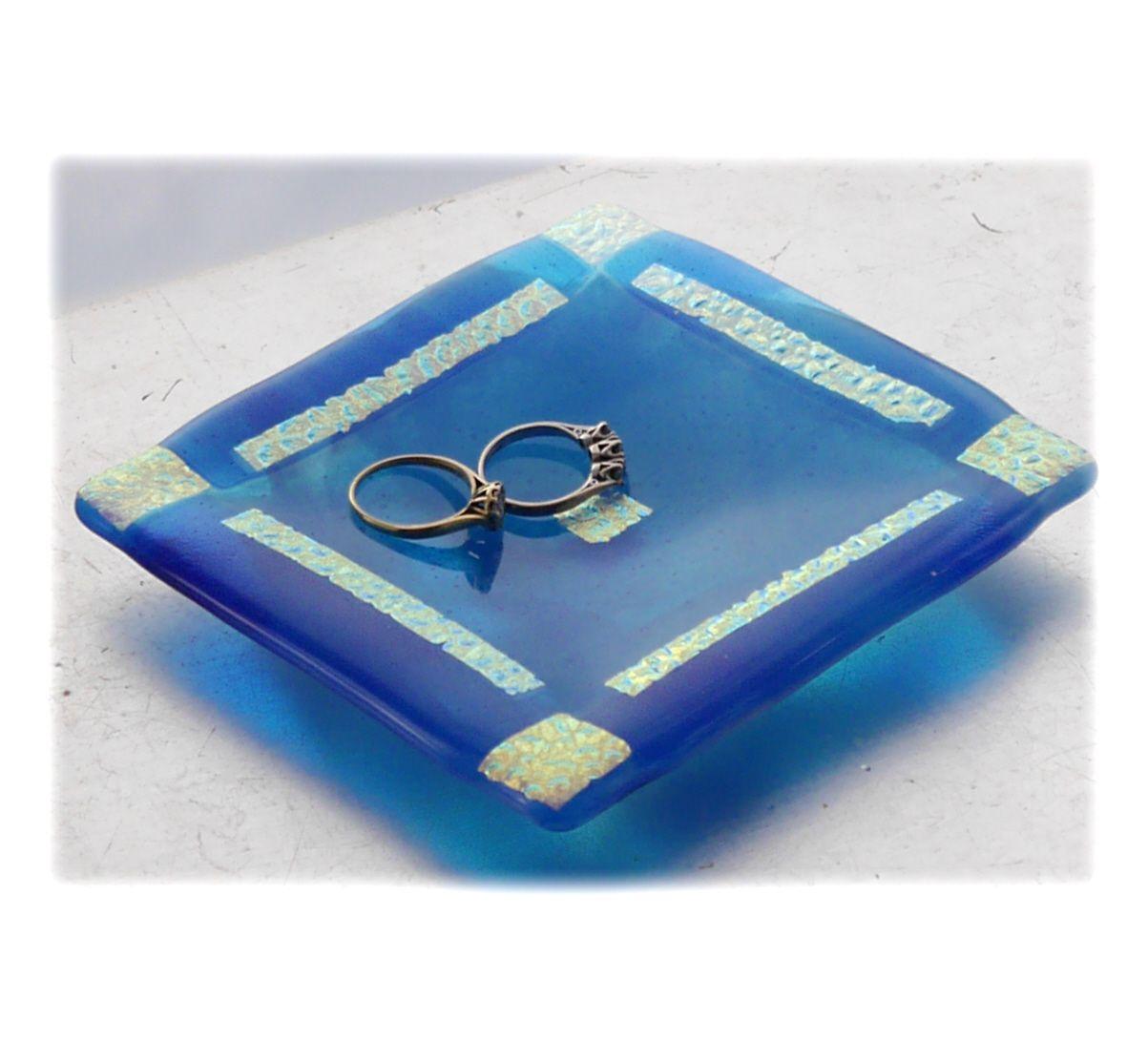 11.5cm Turquoise Gold border Dish 001 #1905 FREE 16.00