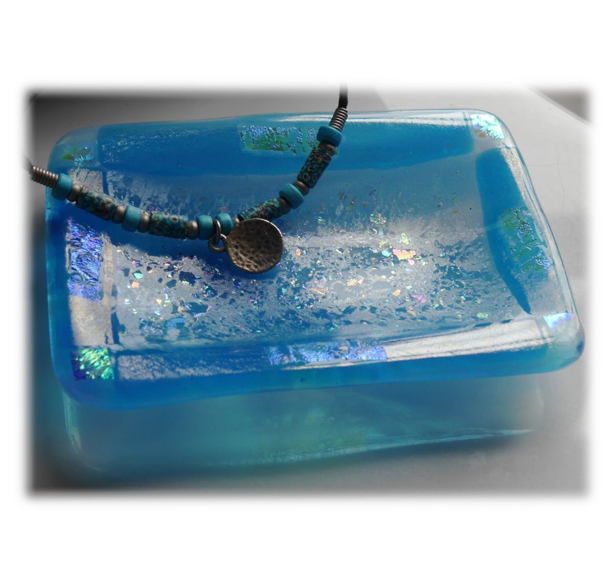 Soap Dish 013 Turquoise dichroic 1907 FREE 12.00