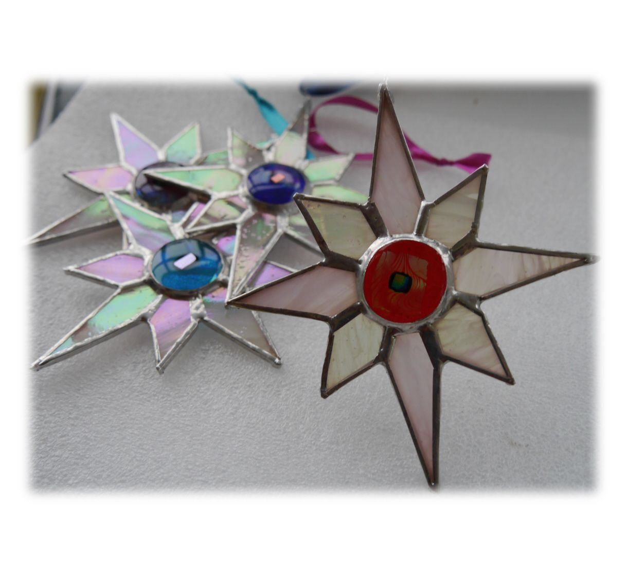 White dichroic star 003 Red #1810 FREE 9.00
