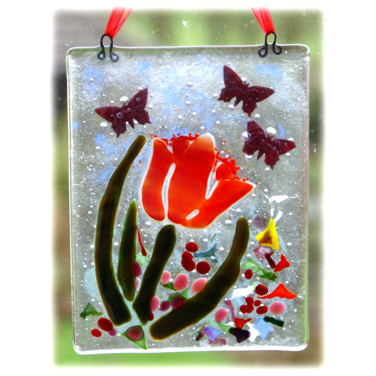 Flower Picture 002 Tulip 10x13cm FUSED @FOLKSY @150512 @15.00