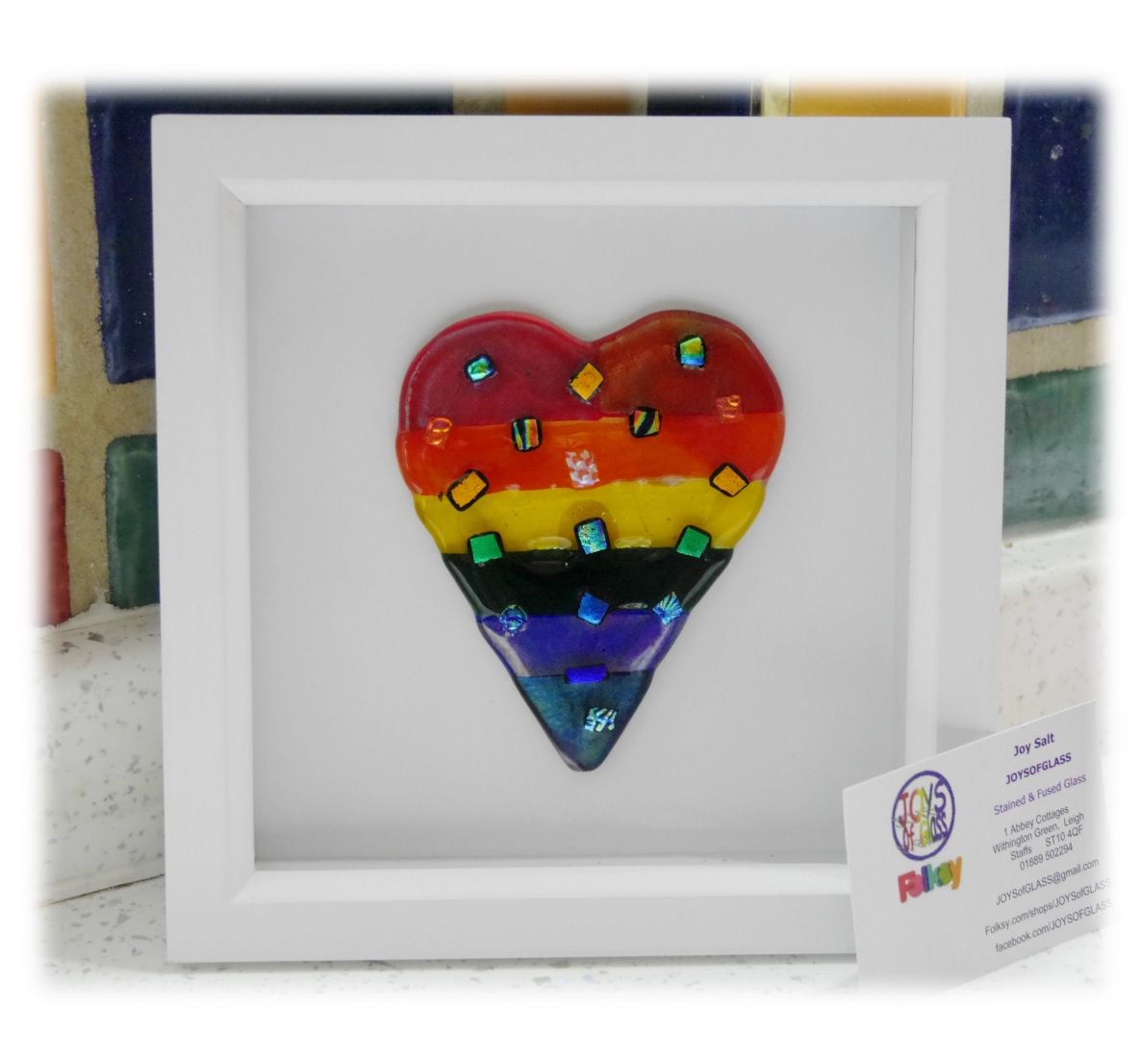 Rainbow dichroic Heart boxed 002 #1902 FREE 20.00