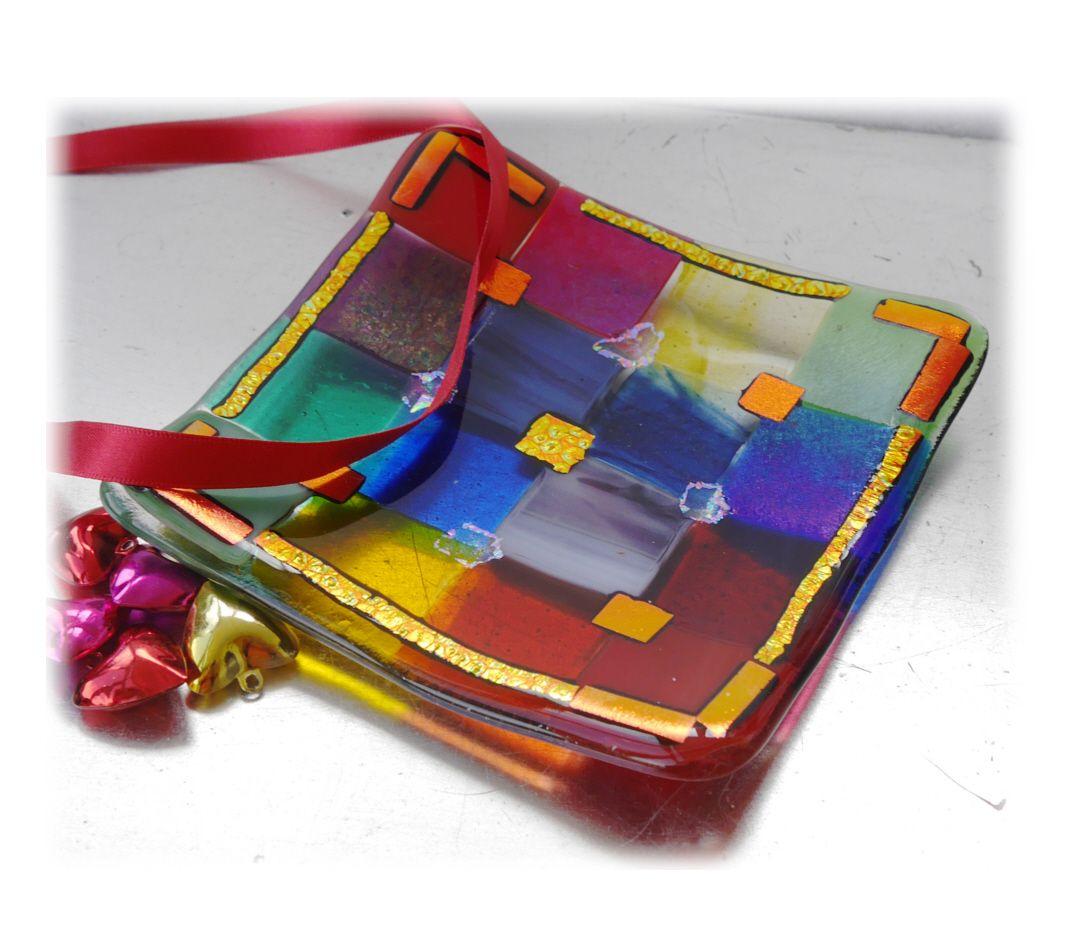 12cm Patchwork Dish 002 #1803 Rainbow Dichroic FREE 16.00