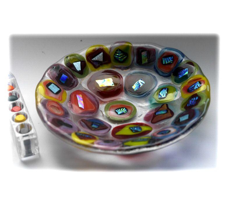 12cm Round Blob Dichroic Bowl FUSED 022 #1608 FREE 16.00