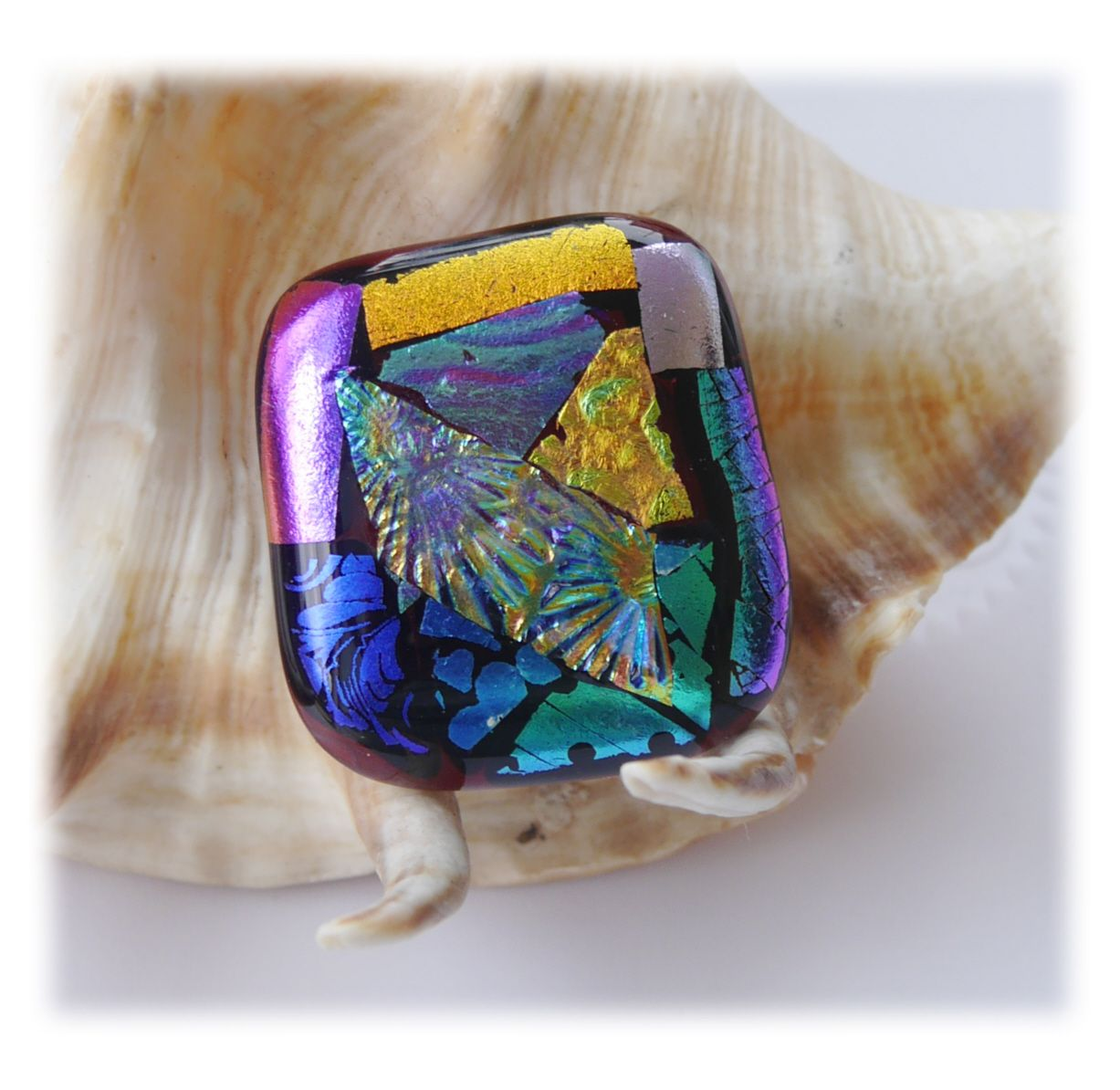 Brooch Fused Dichroic 058 #1908 FREE 8.00