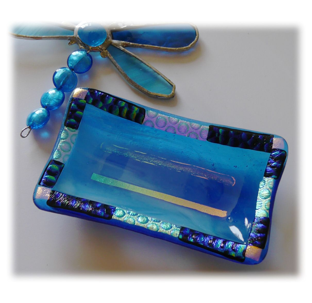 Soap Dish 014 Turquoise dichroic #1908 FREE 13.50