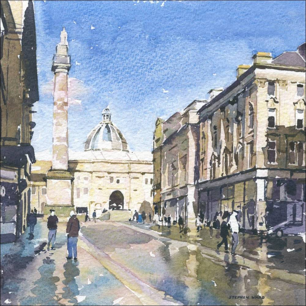 Grey Street, Newcastle after a shower