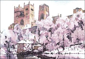 CC05 Durham Cathedral and Fulling Mill - Snowscene