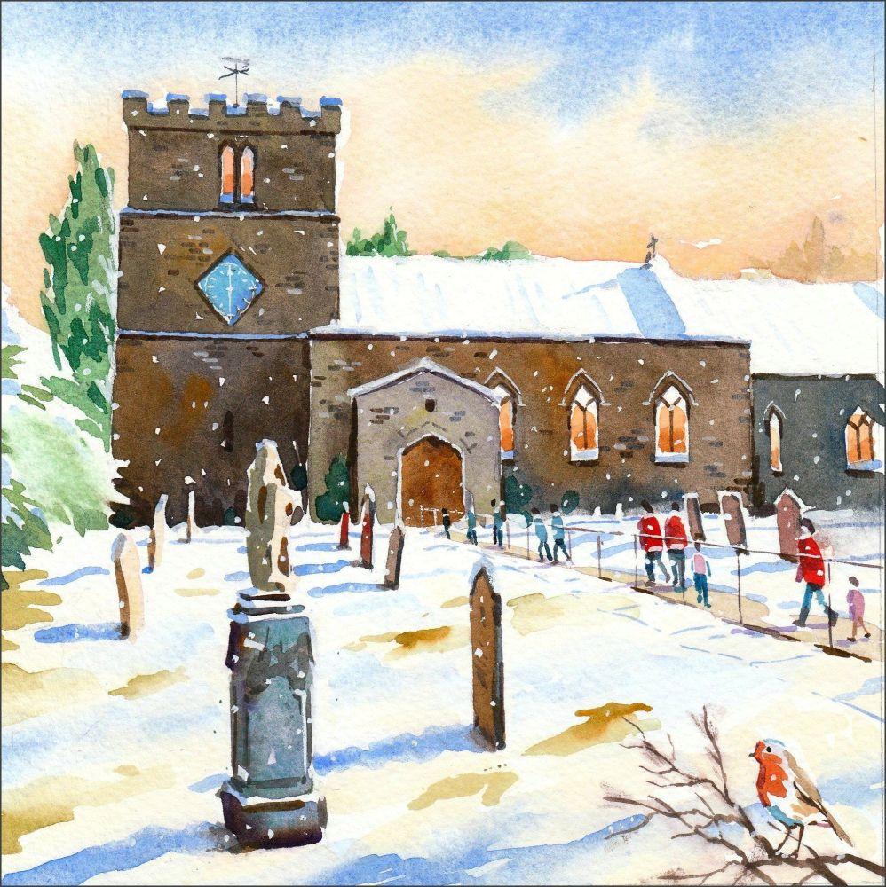 CC14 Churchgoers at Christmas time, Stanhope.
