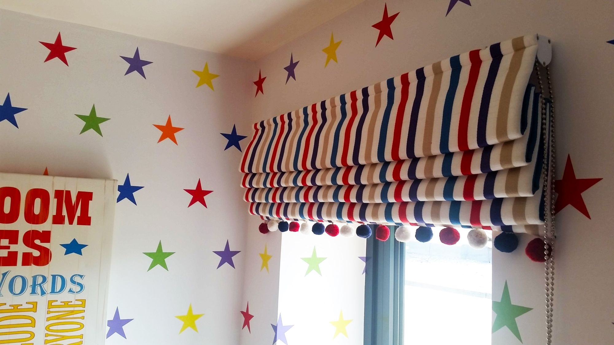 Cotton moon design specialised in interior design for - Roman shades for kids room ...