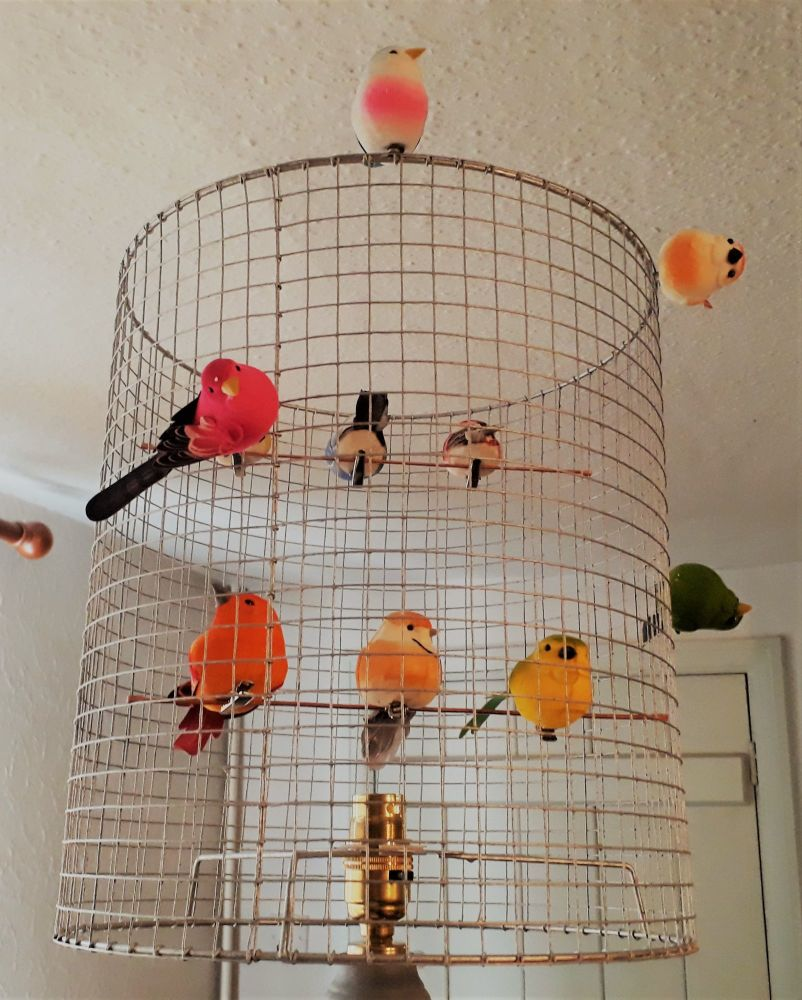 Gold Birdcage Lampshade.