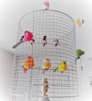 Gold/Silver Birdcage Lampshade.