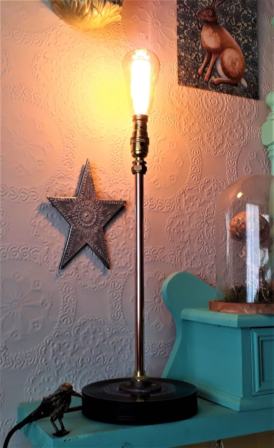 Upright Copper Table Lamp With Upcycled Record Base.