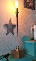 Upright Copper Table Lamp With Polished Natural Oak Base.