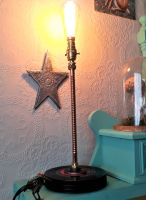 Upright Spiral Effect Copper Table Lamp With A Base Made From Up-cycled 7