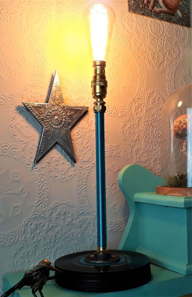 Upright Copper Wire (Turquoise) Wound Table Lamp With A Base Made From Up-c