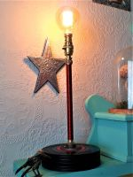 Upright Copper Wire (Red) Wound Table Lamp With A Base Made From Up-cycled 7