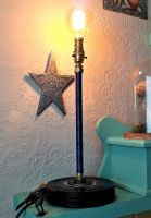 Upright Copper Wire (Blue) Wound Table Lamp With A Base Made From Up-cycled 7